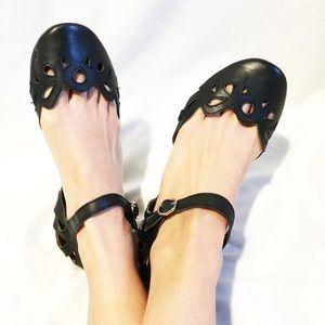 Jeffrey Campbell leather cut out flats